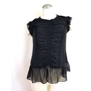 👗WhoWhatWear Size S Black Blouse Ruched